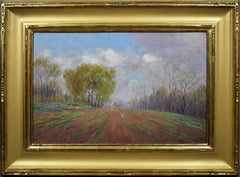 Antique American Impressionist Wild Flower Panoramic Landscape Fall Oil Painting