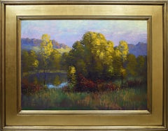 Antique American Impressionist Fall Lake Landscape 1924 Signed  Oil Painting