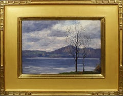 Antique American Impressionist Palisades New York Landscape Signed Oil Painting