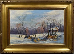 Antique American Impressionist Winter Snow Landscape Signed Oil Painting