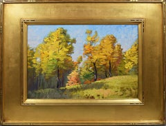 Antique American Impressionist Plein Air Forest Landscape Signed Oil Painting
