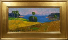 Antique American Impressionist Plein Air Summer Landscape Signed Oil Painting