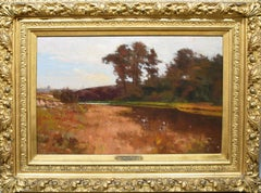 Antique American Impressionist Fall River Neshaminy Creek PA Signed Oil Painting