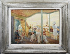 Antique American Modernist WPA Ashcan Staten Island Ferry Ride 1920 Oil Painting