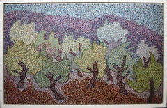 Russian/Canadian Modernist Signed Fauvist Pointillist Landscape Oil Painting
