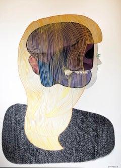 A conceptual contemporary portrait paintings unique 2019 Woman Rare colorful