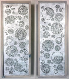 Contemporary Hand cut tyvek scrolls framed shadow casting white and black rare