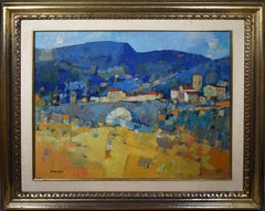 Rare French Modernist Country Abstract Landscape Oil Painting Pierre Bordenave