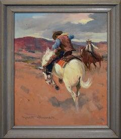 Vintage American Impressionist Western Cowboy on Horseback Signed Oil Painting