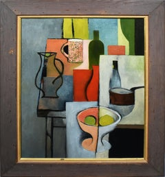 Vintage Scottish Modernist Abstract Kitchen Table Still Life Signed Oil Painting