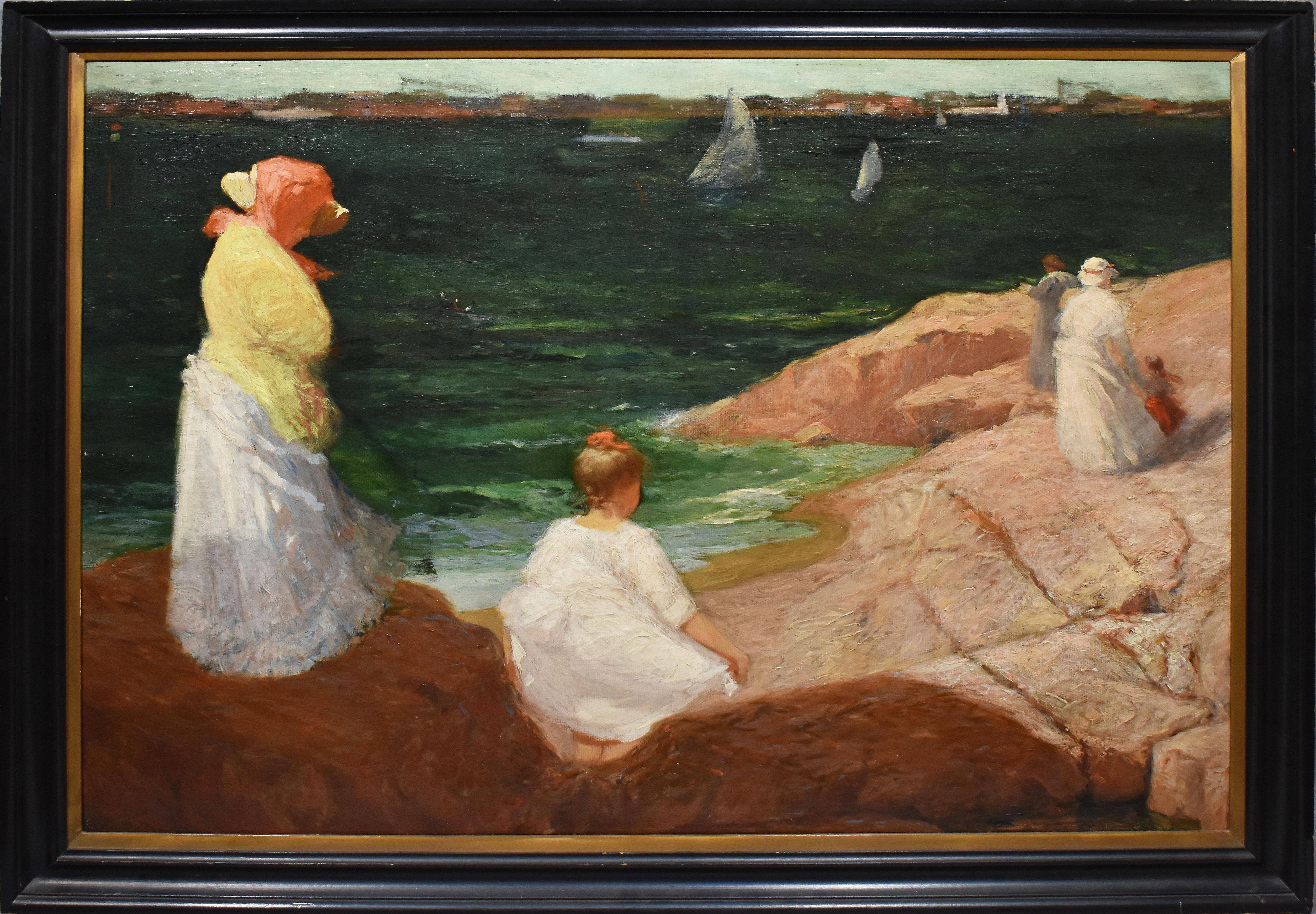 Antique American Impressionist New England Coastal Beach Stroll Oil Painting
