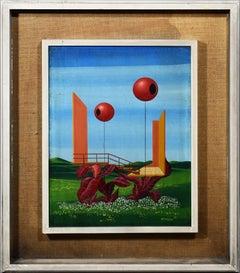 Vintage Italian Surrealist Nature Study Signed Original Landscape Oil Painting