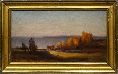 Antique American Impressionist Hudson River School Fall Mountain Oil Painting
