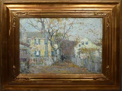 Antique American Impressionist Rockport Street Scene Large 1918 Oil Painting