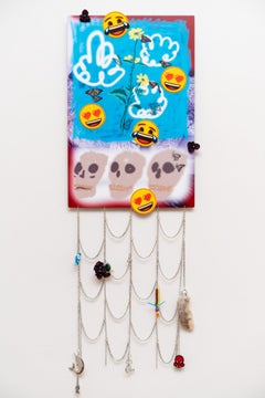 Highly conceptual mixed media wall sculpture Contemporary skull emoji jewelry