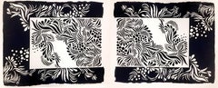 Contemporary Hand cut and pulled screen prints black and white floral abstract