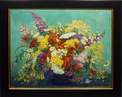 Antique American Large Impressionist Flower Still Life Signed 1910 Oil Painting