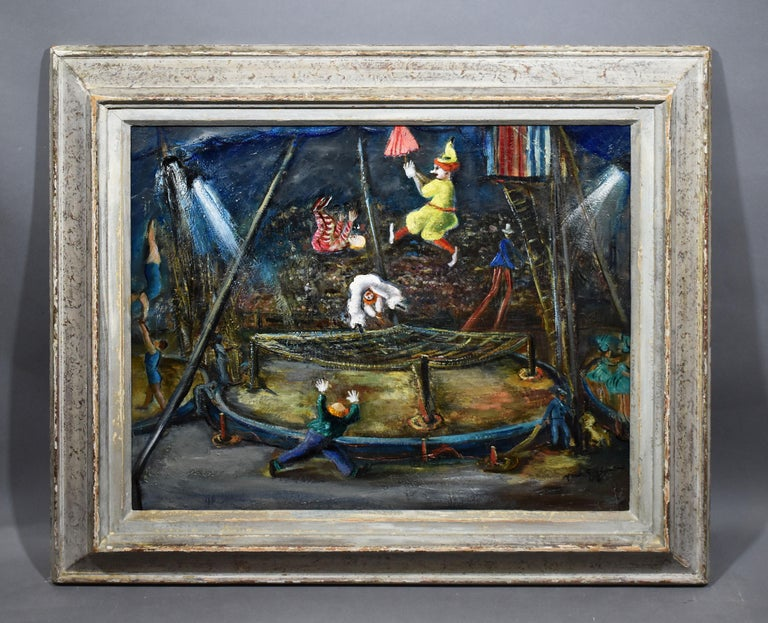 Antique American Ashcan School Modernist Circus Scene Signed PA Oil Painting - Black Figurative Painting by Ann Taube Goodman