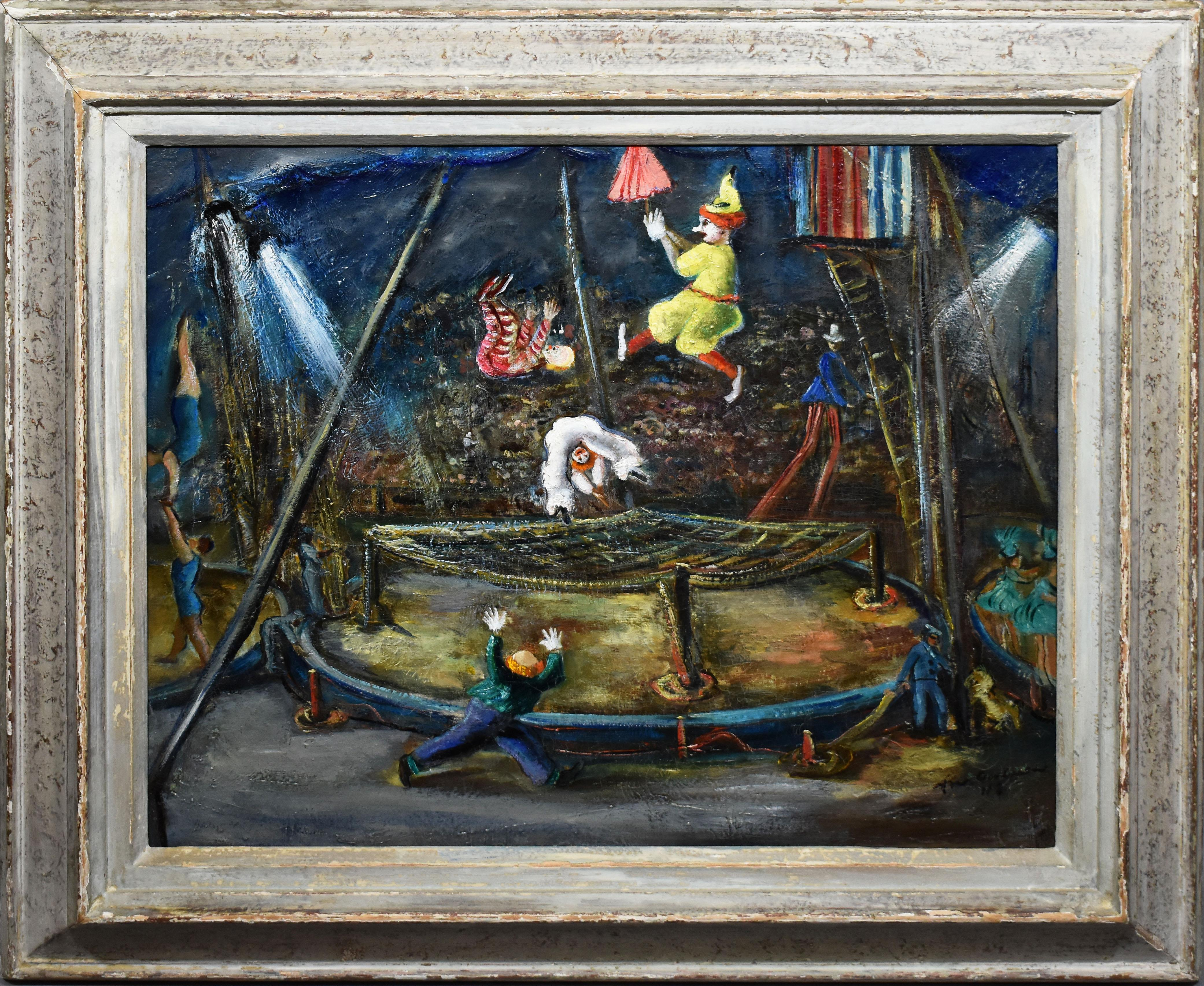 Antique American Ashcan School Modernist Circus Scene Signed PA Oil Painting