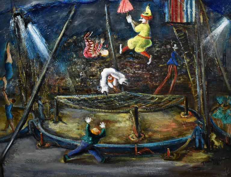 Antique American school modernist circus scene by Ann Taube Goodman  (Born 1905).  Oil on canvas, circa 1925.   Signed.  Displayed in a modernist frame. Image size, 24