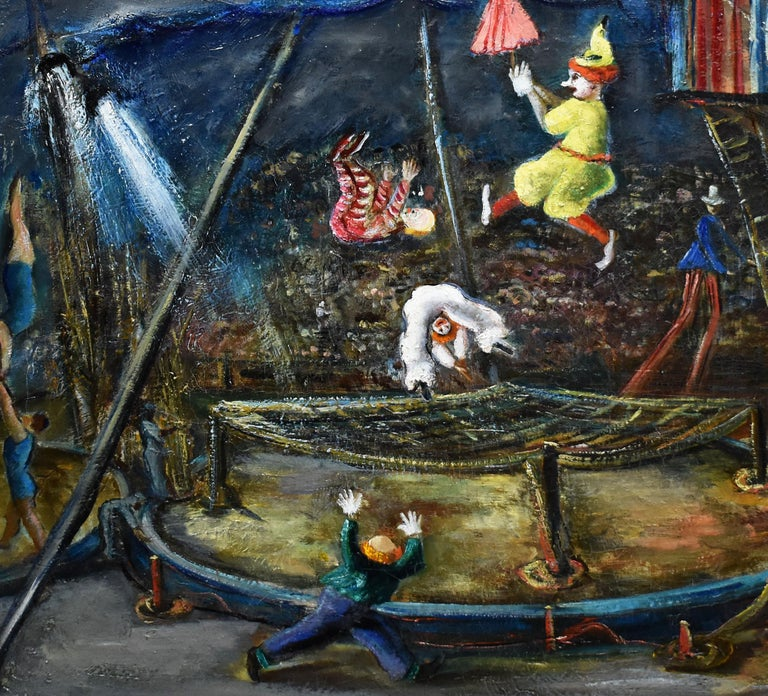 Antique American Ashcan School Modernist Circus Scene Signed PA Oil Painting For Sale 1