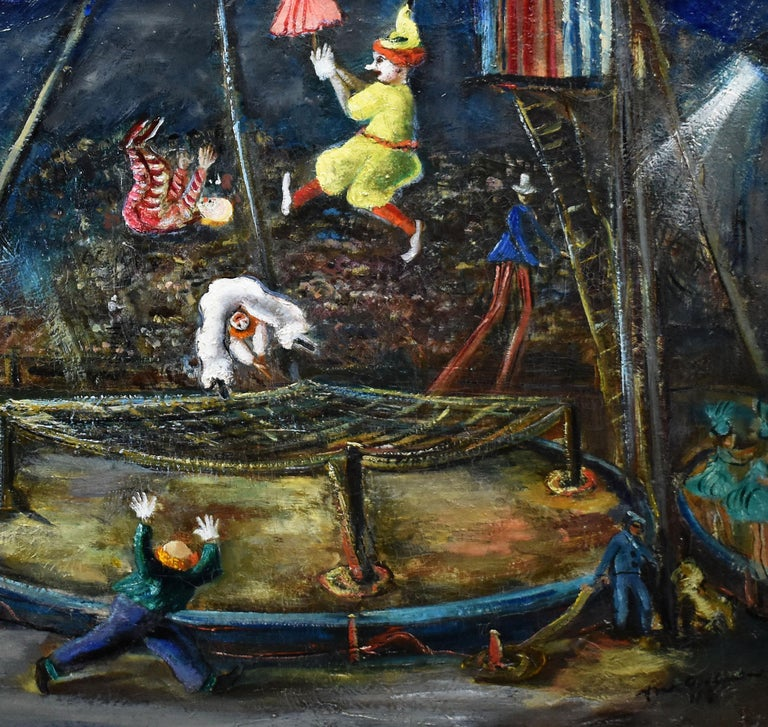 Antique American Ashcan School Modernist Circus Scene Signed PA Oil Painting For Sale 2