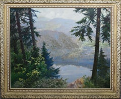 Antique American Female Impressionist Panoramic Mountain Landscape Oil Painting