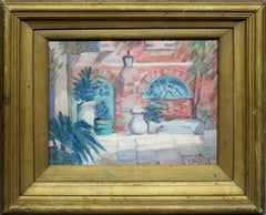 Antique American Southern School Impressionist New Orleans Courtyard Painting