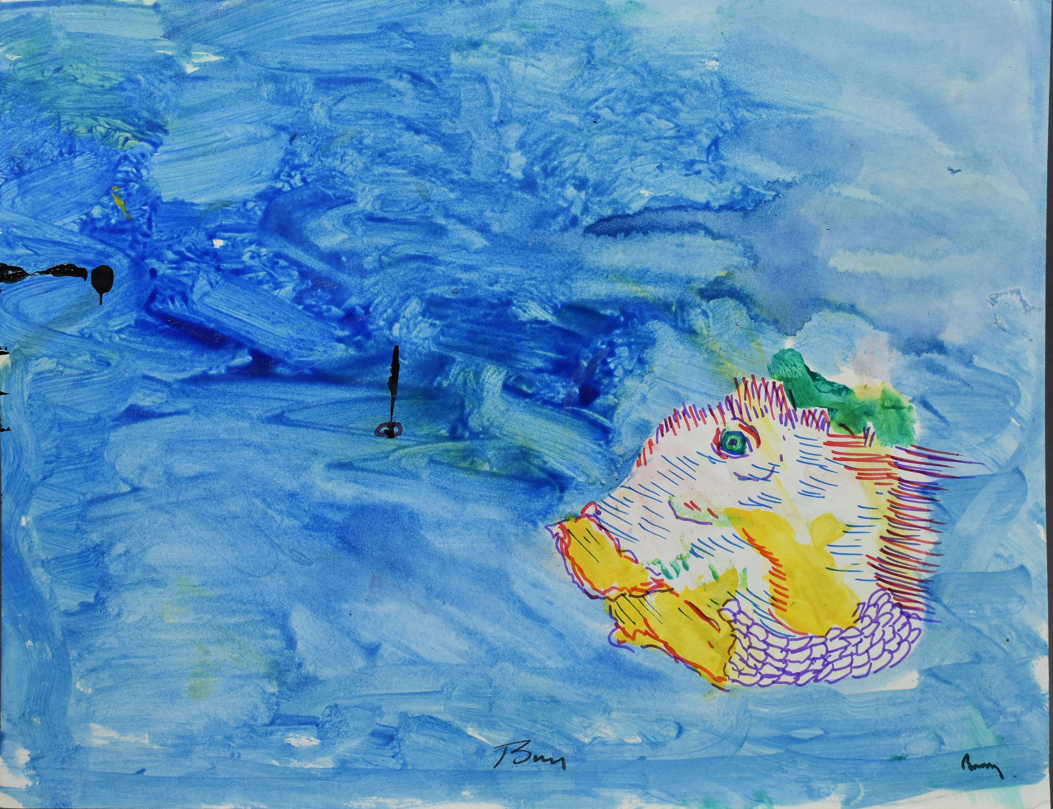 American School New York City Abstract Magic Surrealism Ocean Fish Painting