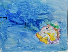 American School New York City Abstract Magic Surrealism Ocean Fish Painting