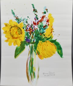 Vintage American Modernist Sunflower Still Life Flower Signed Original Painting