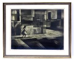 Modernist American Figurative Etching 1950 Girl Hoop Rare Framed Black & White
