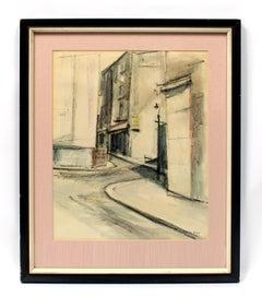 Modernist American Cityscape painting 1950 Rare Framed Pink Black & White