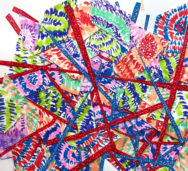 Mixed Media Abstract Collage Painting Contemporary red Blue Green Pattern  - Art by Winslow Tee