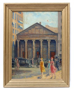 Antique American Female Impressionist Boston Street Scene Signed Oil Painting