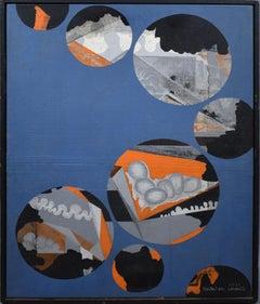 Vintage Korean Modernist Mid Century Pop Art Abstract Oil Painting Signed