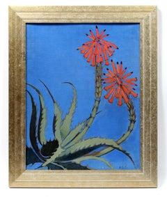 Floral Illustrator Margaret Price Bright Blue Orange Framed Oil Painting Female