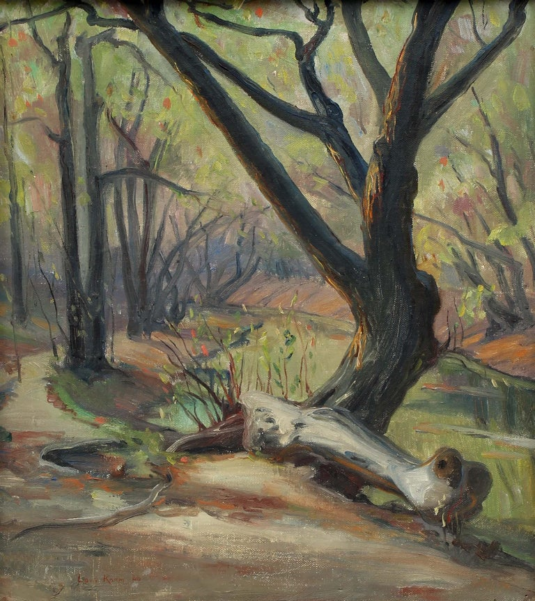 French Impressionist oil painting Caldwell Woods Chicago Plein Air Original 1940 - Painting by Louis Philippe Kamm