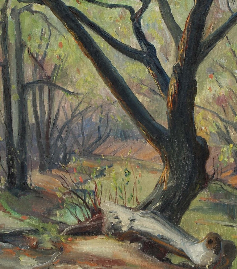 French Impressionist oil painting Caldwell Woods Chicago Plein Air Original 1940 - Brown Landscape Painting by Louis Philippe Kamm
