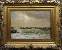 Antique American Impressionist Seascape New England Coastal Signed Oil Painting