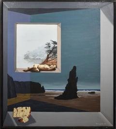 Antique American Surreal Modernist California Nude Beach Scene Oil Painting