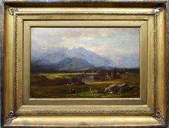 Antique American Hudson River School Signed White Mountain Valley Oil Painting