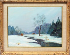 Antique American New York Impressionist Landscape Cyril Ledoux Rare Oil Painting