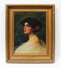Antique Original American Oil Painting Portrait Of a Young Beautiful Woman