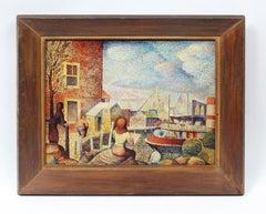 """Modernist New York City Street Scene Harbor Oil Painting """"East River Firehouse"""""""
