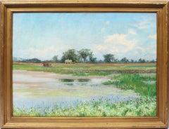 Antique Female Impressionist Nantucket Marsh Landscape Signed Cow Oil Painting