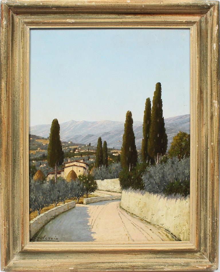 Giacomo Delcroix Landscape Painting - Antique Italian Tuscan Landscape Signed Florence Italy Original Oil Painting