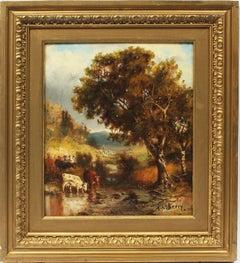 Antique American Original Hudson River School Cow Landscape Signed Oil Painting