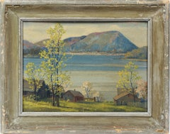 Antique American Impressionist Panoramic Summer River Vally View Oil Painting