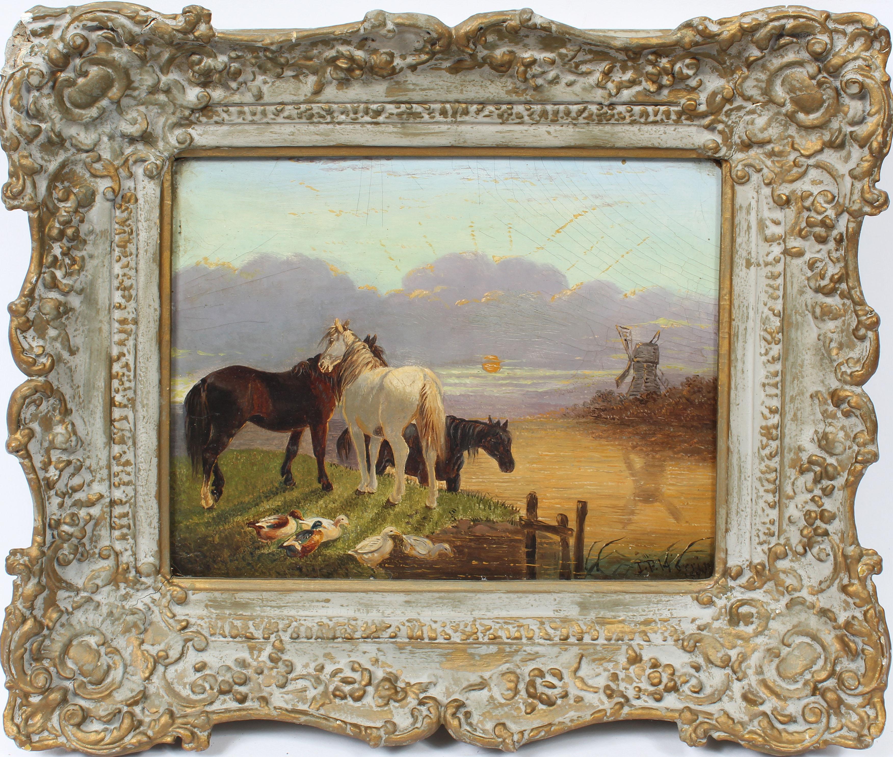 Antique English Sporting Art Animal Horse Portrait Sunset Landscape Oil Painting